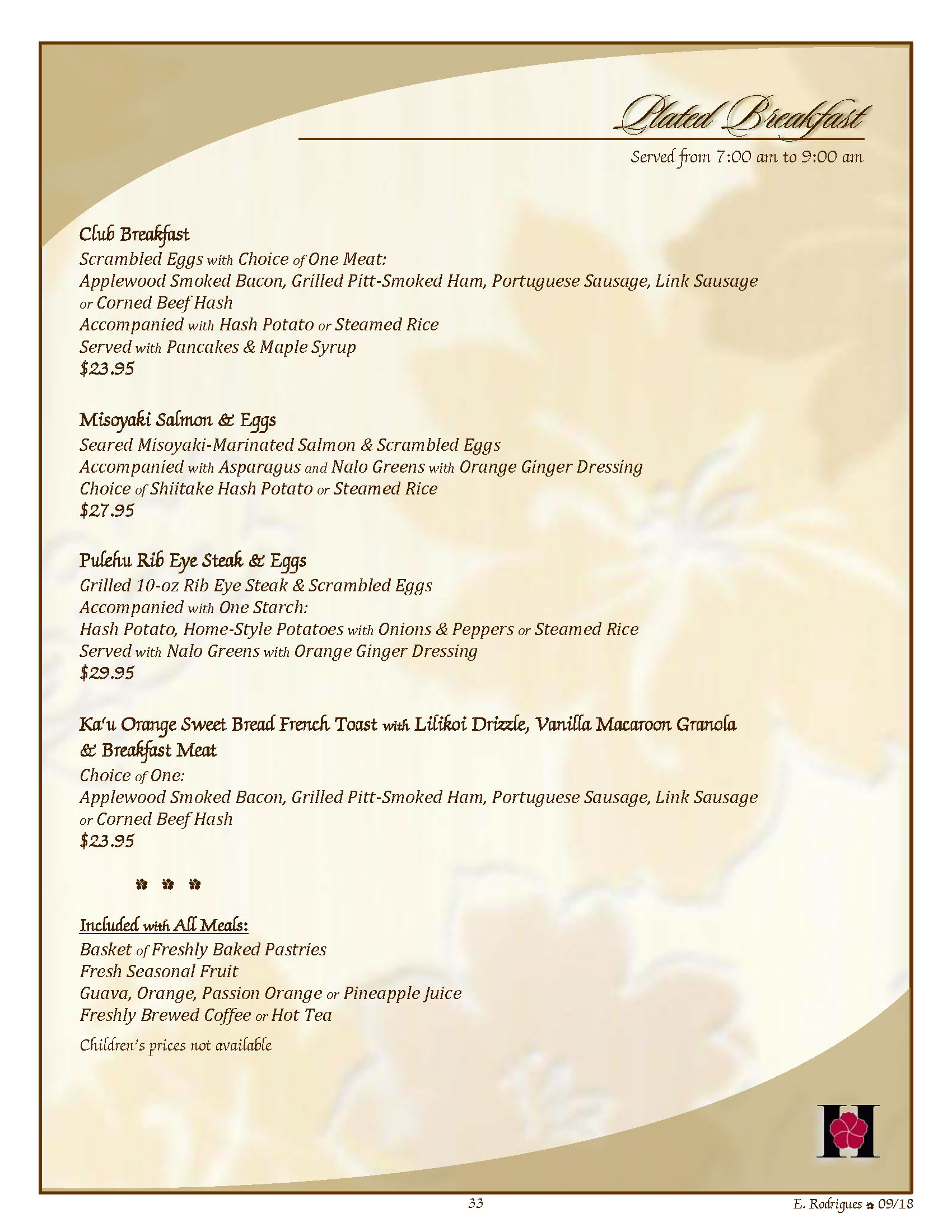 Banquet Menus - Table of Contents